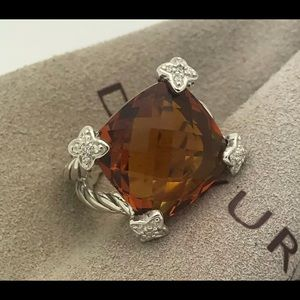 David Yurman Cushion on Point Citrine Silver Ring